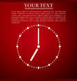clock icon on red background vector image vector image