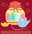 colorful fortune bag hieroglyphs and mouse vector image
