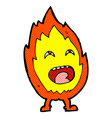 comic cartoon flame character vector image vector image