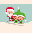 couple helpers with santa claus in snowscape vector image vector image