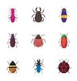 Crawling beetles icons set cartoon style vector image