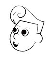 cupid face cartoon sketch vector image