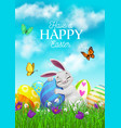 easter holiday cartoon poster with bunny vector image vector image