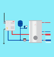 Electric boiler in the cottage Green energy vector image