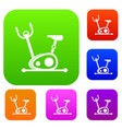 exercise bike set collection vector image vector image