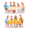 families sitting at kitchen table set happy vector image vector image
