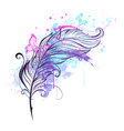 Feather with Butterflies vector image