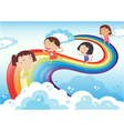 Four young ladies playing in the sky vector image vector image