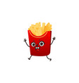 french fries character with happy human face vector image vector image