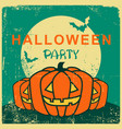 halloween party vintage card with pumpkin and vector image