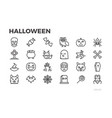 halloween thin line icons pumpkins witches vector image vector image