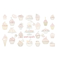 Hand drawn set of doodle style cupcakes vector image vector image