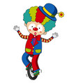happy clown riding on wheel vector image vector image