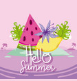 hello summer card with cute cartoons vector image vector image