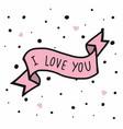 i love you word on pink ribbon polka dot vector image vector image