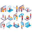 interfaces isometric icon set vector image vector image