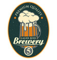 label or banner for the brewery with beer glass vector image vector image