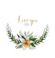 love you postcard half wreath with lily flowers vector image
