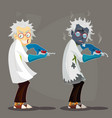 mad scientist professor in lab coat and blue vector image