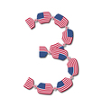 Number 3 made of USA flags in form of candies vector image vector image