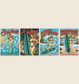 ocean surfing vintage colorful posters vector image vector image