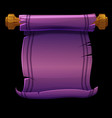 old scroll violet paper papyrus on wooden planks vector image