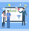 online medicine doctors and screen with analysis vector image
