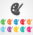 Palette and Paint Brush Icon vector image