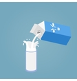 Pouring a glass of milk creating splash vector image