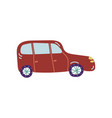 red car city vehicle transport side view cartoon vector image