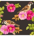 seamless dog-rose and bird vector image
