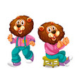 set lion character vector image