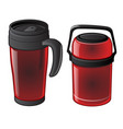 set of hot mug and thermos isolated vector image vector image