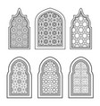 set of ornamental windows in black and white vector image