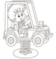 small boy on a toy car swing on a playground vector image vector image