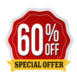 special offer 60 off label or sticker vector image