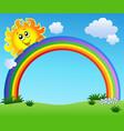 sun holding rainbow on blue sky vector image