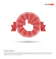 touching hand simple icon - red ribbon banner vector image