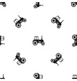 tractor pattern seamless black vector image vector image
