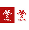 viking logo - style emblem in red vector image