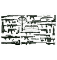 war weapon silhouettes automatic gun kit grenade vector image