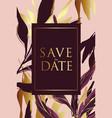 wedding invitation frame set flowers palm leaves vector image vector image