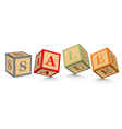 Word SALE written with alphabet blocks vector image