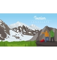 Winter tourism landscape with mountains vector image