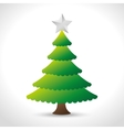 beautiful christmas green tree shiny star vector image