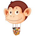 A big monkey balloon with a basket full of kids vector image vector image