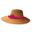 A brown hat with a pink ribbon vector image