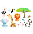 african zoo or safari animals for children clipart vector image