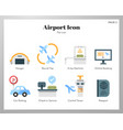 airport icons flat pack vector image vector image