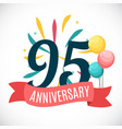 anniversary 95 years template with ribbon vector image